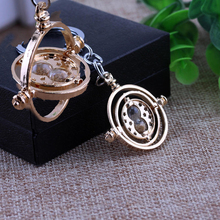 New Top Grade Gold Plated Time Turner Keychain Movie Hourglass Converter Key Chains Ring For Men