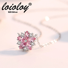 Loioloy Jewelry Delicate 925 Sterling Silver Sweet Pink Crystal Cherry Blossom Flower Pendant Necklace For Women Female
