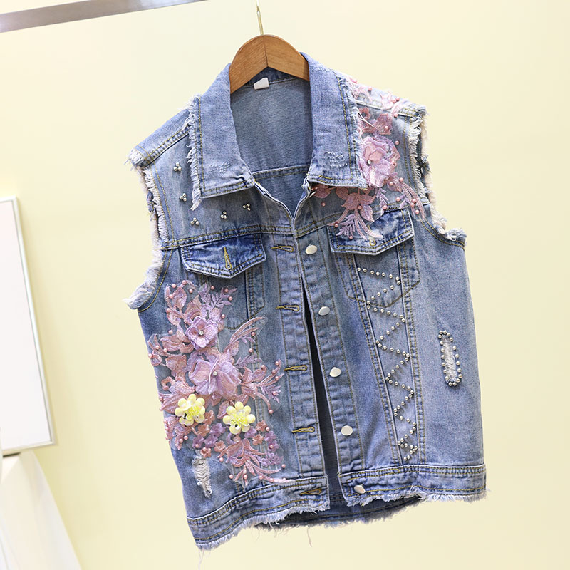 New Fashion Sleeveless Denim   Jacket   Woman Spring/Summer New Beads Hole Embroidery Flower Girls Lady   Basic     Jackets