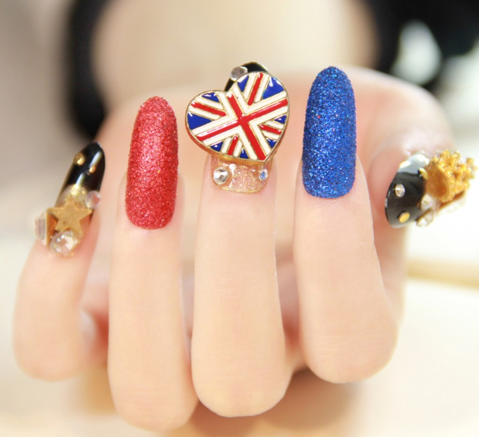 24pcs Fashion Long False Nails Tips Gold Glitter French Nails ...
