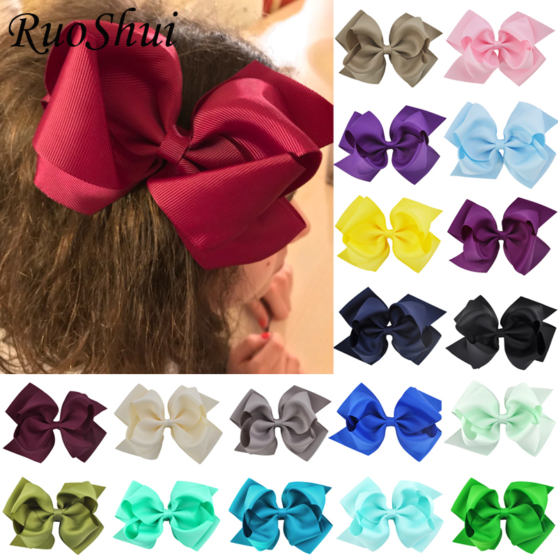 2pcs 6Inch Girls Hair Bows 2 Layer With Clips For Children Handmade Hairpins Grosgrain Ribbon Hairbow Hair Accessories 25 Colors