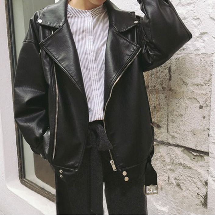 Boyfriend Loose Leather Jacket Women Oversized Black Jacket Moto jaquetas couro Casaco chaquetas Jacket Chain Punk
