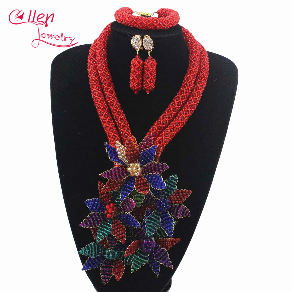 Flowers Pendant Necklace Bracelet Earrings Colorful Crystal African Beads Jewelry sets Women nigerian Wedding beads W13672 fashion white crystal beads necklace earrings bracelet nigerian wedding beads african jewelry set for women ddk014