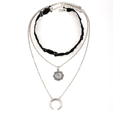 купить Women's Bohemian Lace Necklace Moon Pendant  Necklace Women Multi-layers Adjustable Pendant Tassel Lace Choker Chain Necklace дешево
