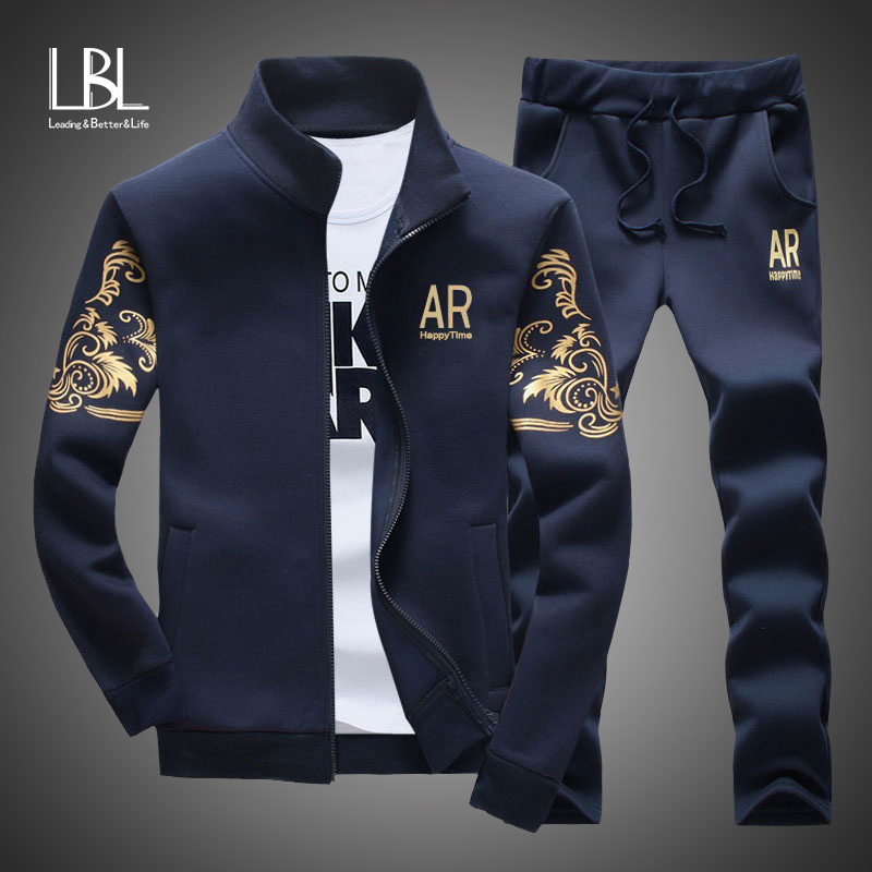 Brand Men Sets Fashion Autumn Spring Sporting Suit Sweatshirt+Sweatpant Tracksuit Men's Sportswear Zipper Clothing 2 Pieces Sets