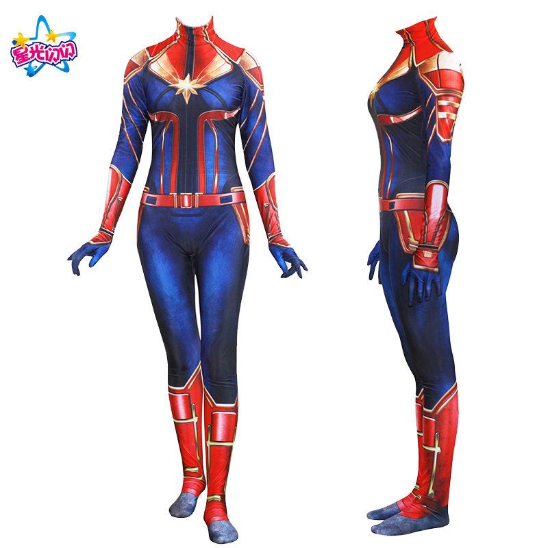 New Carnival/Halloween Captain Marvel Carol Danvers Cosplay Tights For Adult Kids Costume  Spandex Jumpsuit  Full Body Bodysuit