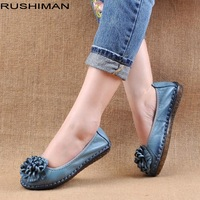 RUSHIMAN New Retro Pure Handmade Shoes Genuine Leather Women Shoes Elegant Soft Bottom Flat Shoes Female Casual Shoes