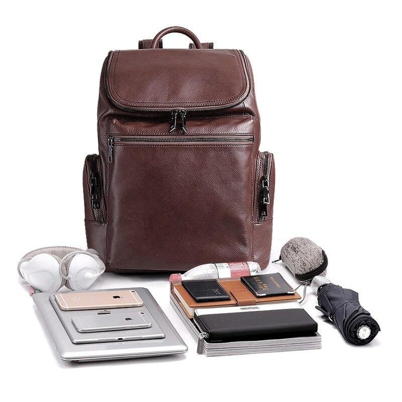 Cobbler Legend Men Mochila De Cuero genuino mochila de viaje de alta calidad mochila escolar bolso de hombre portátil de negocios bolsa de hombro-in Mochilas from Maletas y bolsas    3