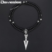 Davieslee Black Glass Beaded Neckalce For Women Men Matte Silver Tone Arrow Pendant Necklace Buddha Lantern Charms 6mm DNM07(China)