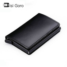 BISI GORO  New Genuine Leather Wallet Slim Business Card Holder RFID Blocking Mini Purse Vintage Antitheft Organizer