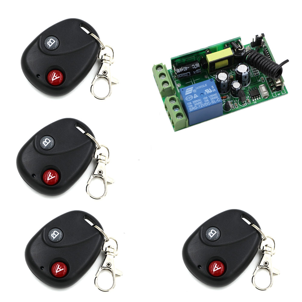 Promotion AC 85V 110V 220V 250V 1CH RF Wireless Remote Control Switch System 4*Transmitter and Receiver Control Distance 20-200m good price wireless 1 channels 220v lamp remote control switch receiver transmitter used in household stairs corridor promotion