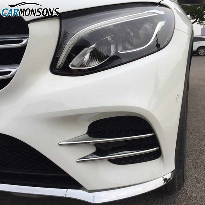 цена на Carmonsons Front Fog Light Lamp ABS Chrome Trim Cover Stickers for Mercedes Benz GLC Class X253 2016+ Accessories Car Styling