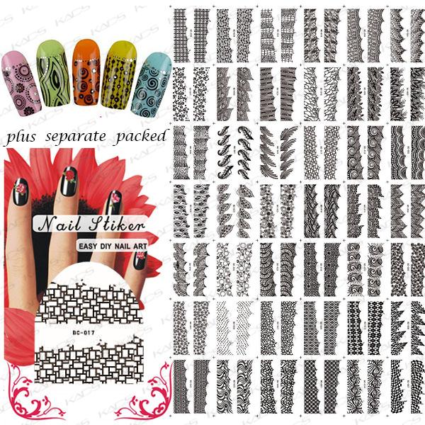 NUEVO 50 hoja/lot Negro Hollow Tatuaje Francés del arte del clavo de transferencia de agua etiqueta engomada del clavo del arte productos de forma individual embalaje