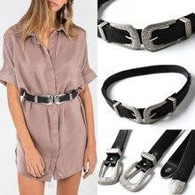 Fashion Women Lady Vintage Metal Boho Leather Double Buckle Waist Belt Waistband
