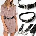 Fashion de Señora Vintage Boho de Metal de Cuero Doble Hebilla de Cinturón de La Pretina
