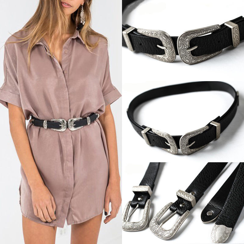 Arrival Women Lady Vintage Metal Boho Leather Double Buckle Waist Belt Waistband