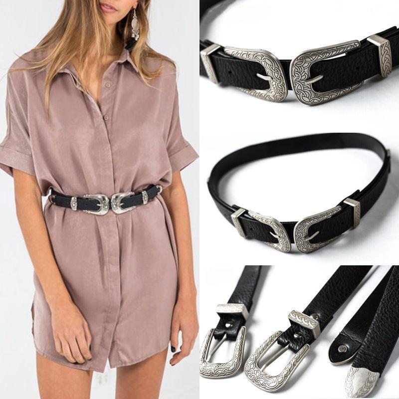 Arrival Women Lady Vintage Metal Boho Leather Double Buckle Waist Belt Waistband