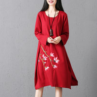 Red And Black Embroidery Plum Flowers Round Neck Loose Women New Long Sleeve Casual Knee Length