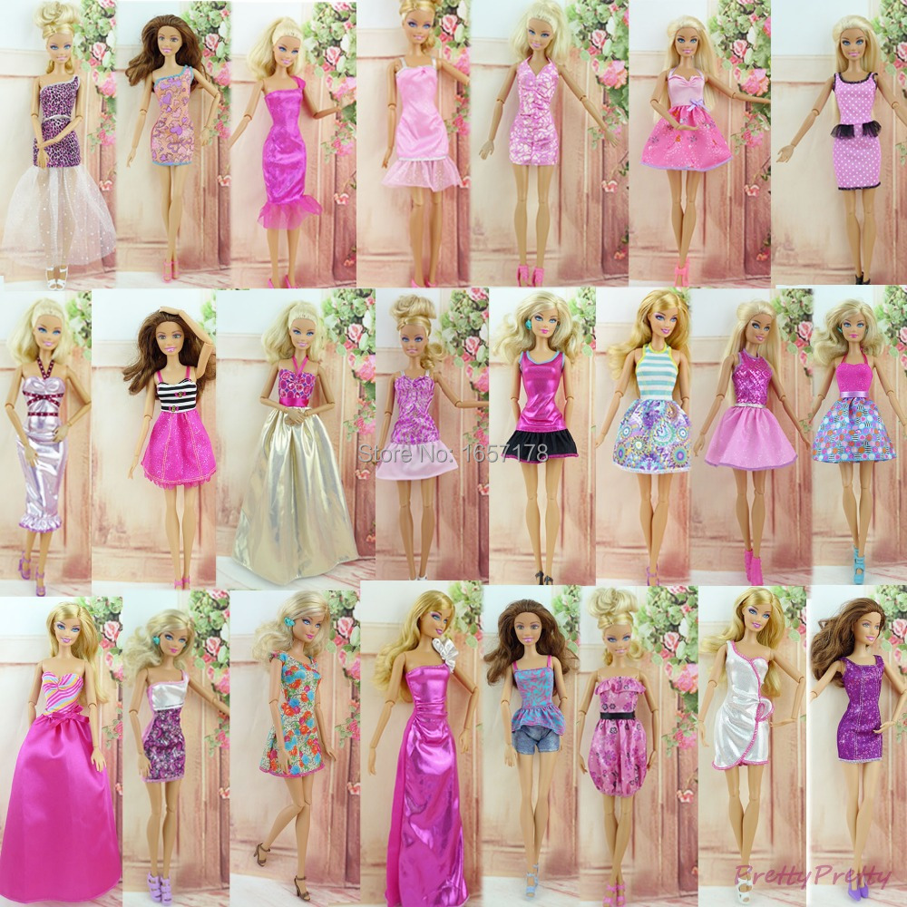 Randomly Pick 6 Set Handmade Wedding Party Dress Skirt Princess Outfit Clothes For Barbie Doll DIY Accessories Kids Gift Toy leadingstar barbie doll dresses 6 party dress 12 casual skirt set random color and styles with doll s accessories zk30