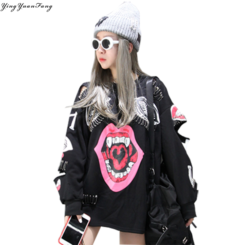 YingYuanFang The New Korean Cartoon Graffiti Long Sleeves Women Pin Decoration Sweatshirts