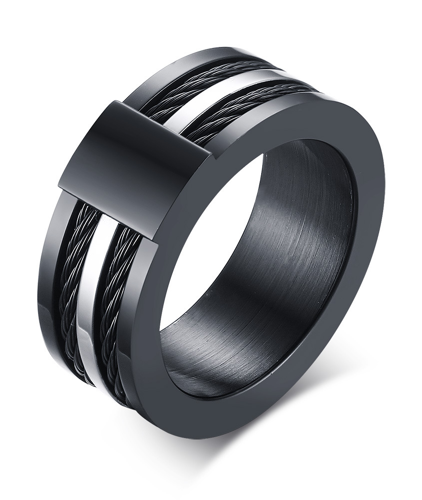 2016 new minimalist stainless steel ring coercion mens black Wire rope rings men fashion punk style jewelry wholesale aneis