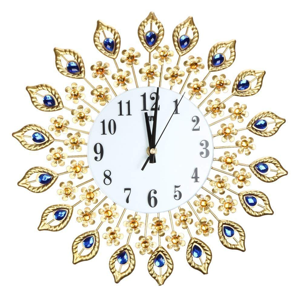 Luxury Artificial Crystal Diamond Large Wall Clock Metal Living Room Wall Clock Home Art Decoration (#1 Gold)