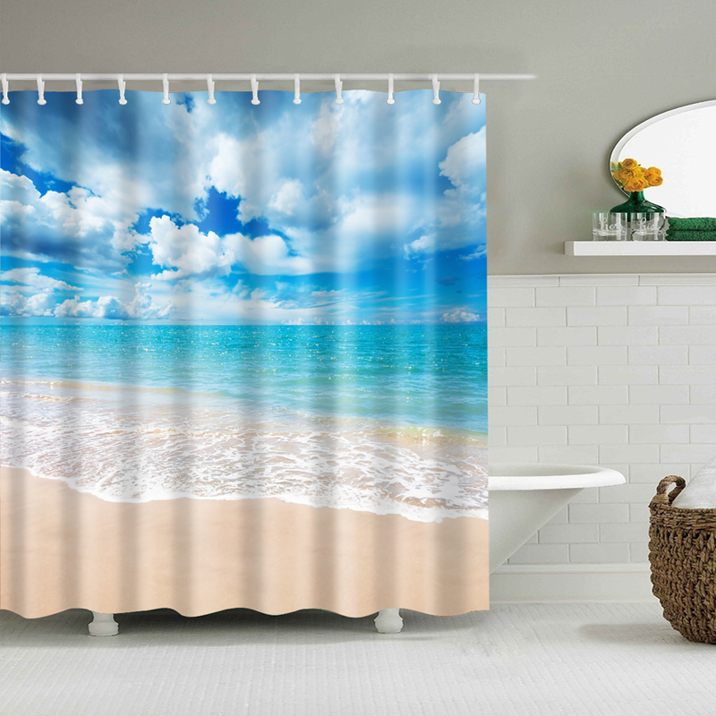 Sunshine Beach Waterproof Shower Curtains Polyester Fabric High Quality Bathroom Blind For The