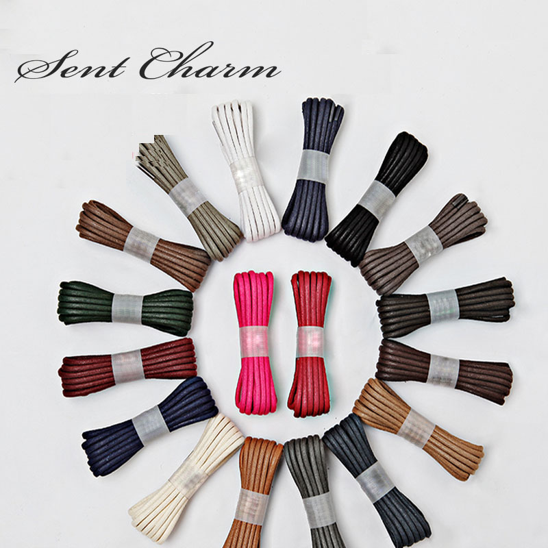 SENTCHARM 150cm/59inch Unisex Cotton Waxed Outdoor Shoelaces Round Shoestrings For Boots Dress Shoes