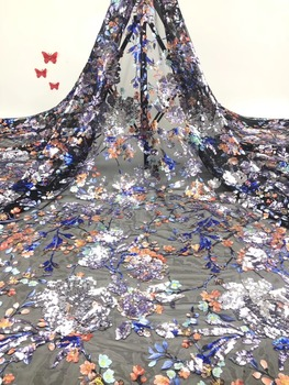 5 meters of sequins of French flowers, a hot sale in 2019, are made of high-end sequins made of African tulle lace fabric