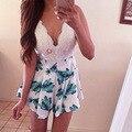 2015 Moda Nova Feminina macacão curta Chiffon Sexy rendas costura decote em V alcinha impresso floral tamanho S-GG