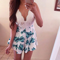 Women Lace Floral Striped Playsuit Shorts Sexy Jumpsuit macacao feminino Summer Style Blackless Romper bodysuit roupas monos