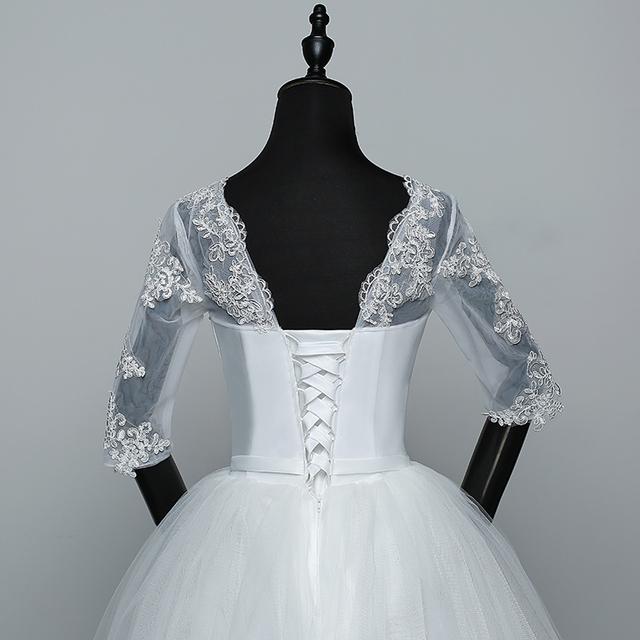 Appliques Wedding Dresses Elegant Princess Adjust Lace Three Quarter Sleeve Bridal Gowns Vestidos De Noiva