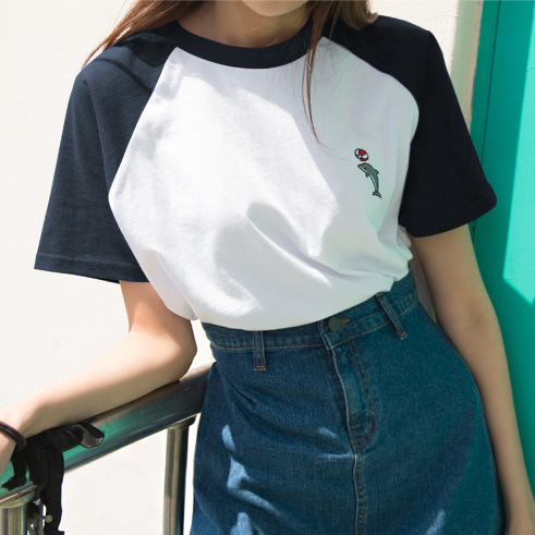 Summer Preppy Style T Shirt Women O Neck Dolphin Embroidered Short Sleeved Loose Casual Tees in T Shirts from Women 39 s Clothing
