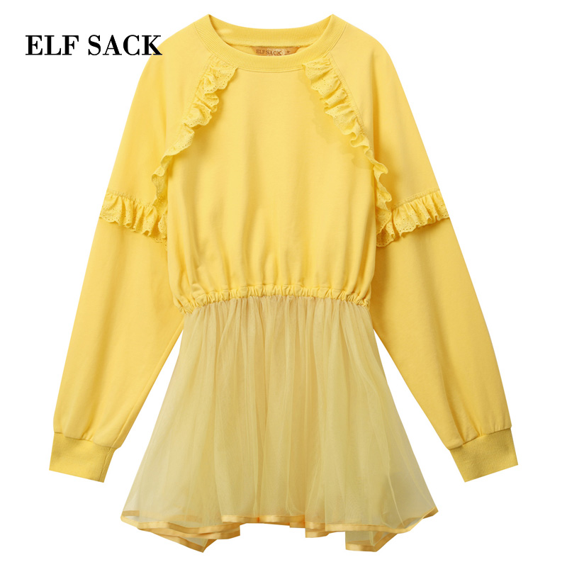 ELF SACK 2019 New Cotton Sweatshirts Woman Casual Knitted Full Letter Hoodies Ladies Pullovers Mesh Patchwork Femme Sweatshirts in Hoodies amp Sweatshirts from Women 39 s Clothing