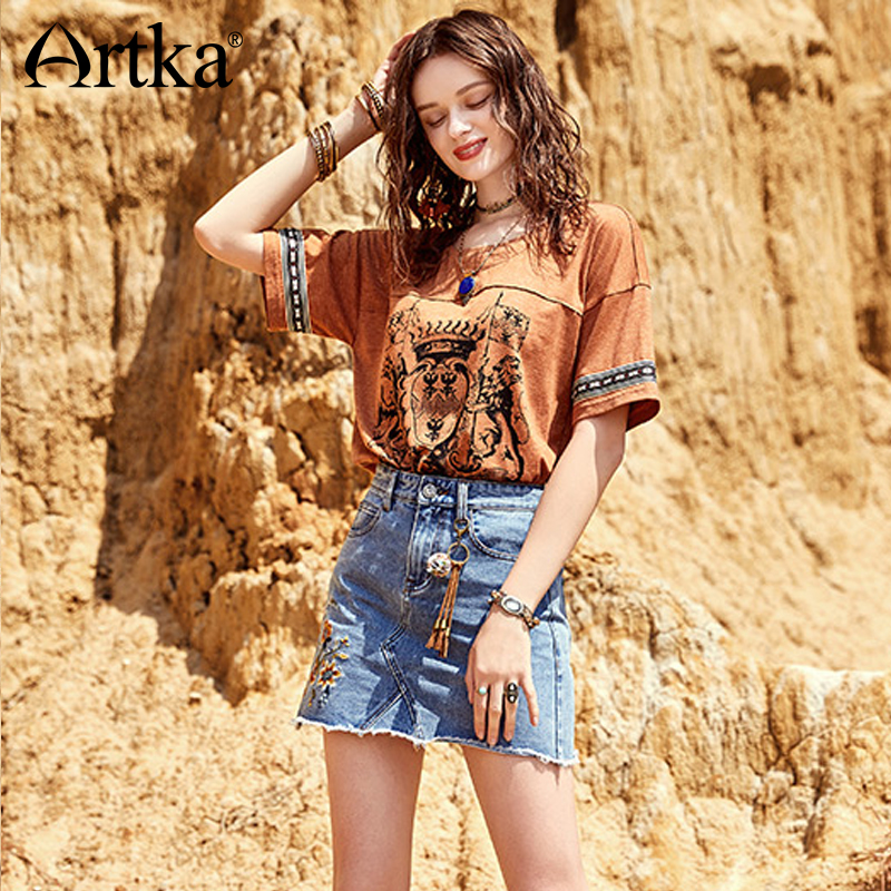 ARTKA 2018 New Women Bohemian Summer Floral Embroidery Washed Vintage Patchwork A line Denim Mini Skirt