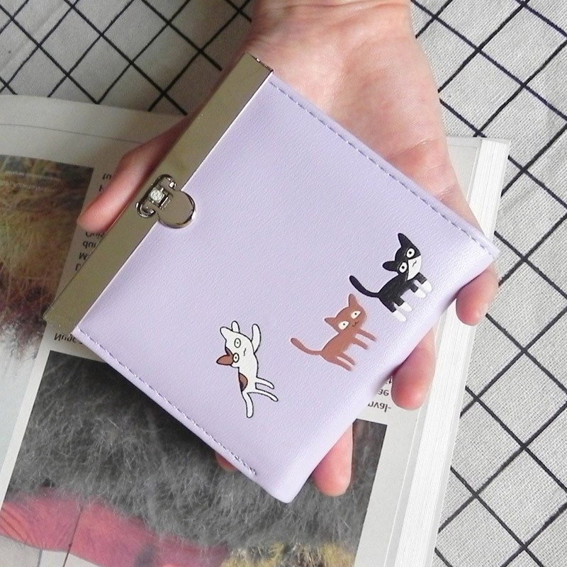 YOUYOU MOUSE Small Fresh New Women Wallet Korean Thin Money Mini Wallet Ladies Cute Cat Student Wallet Hasp Coin Purse