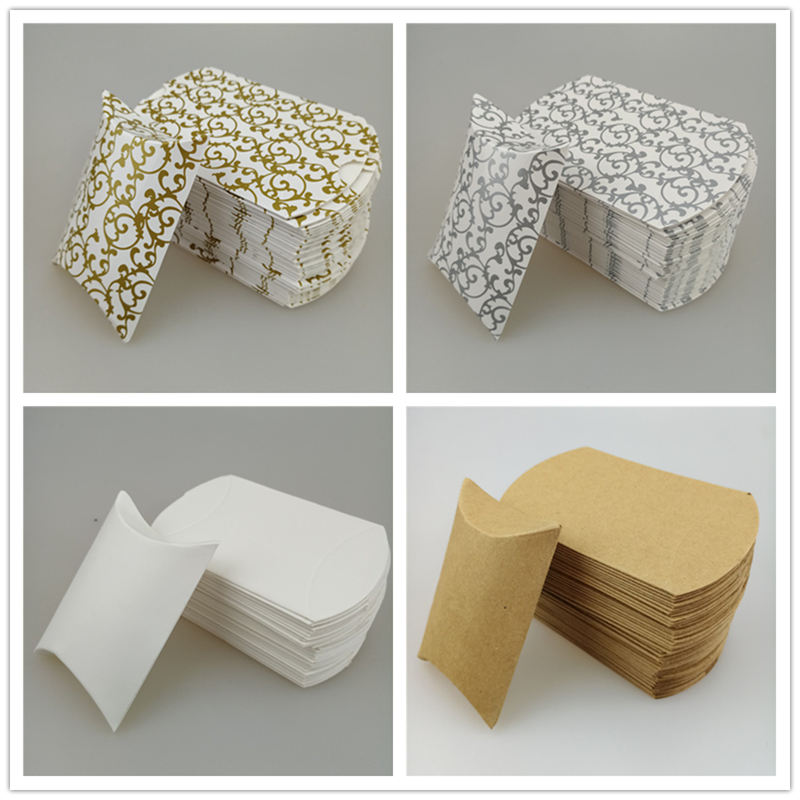 6X2.5X9cm 12pcs/bag Colored Party Paper Pillow Candy Boxes Wedding Party Favor Candy Gift Box Birthday Festival Supplies