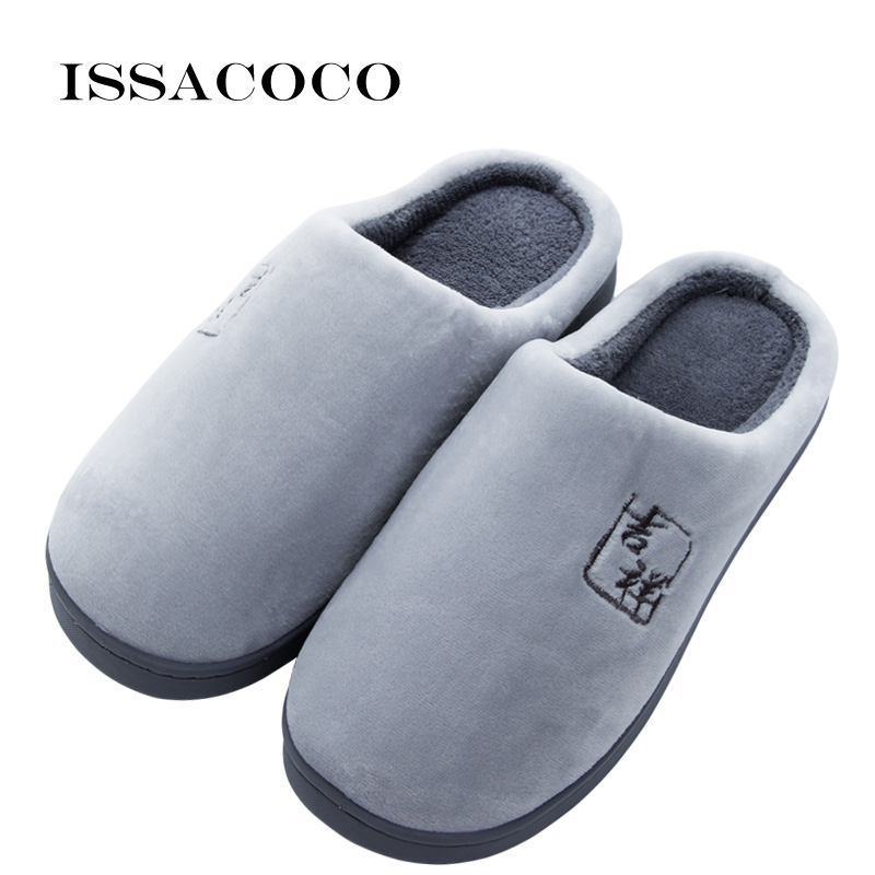 ISSACOCO Winter Men's Shoes Lovers Home Slippers Keep Warm Anti-slip Cotton Floor Indoor Flat Slippers Shoes For Men Pantuflas
