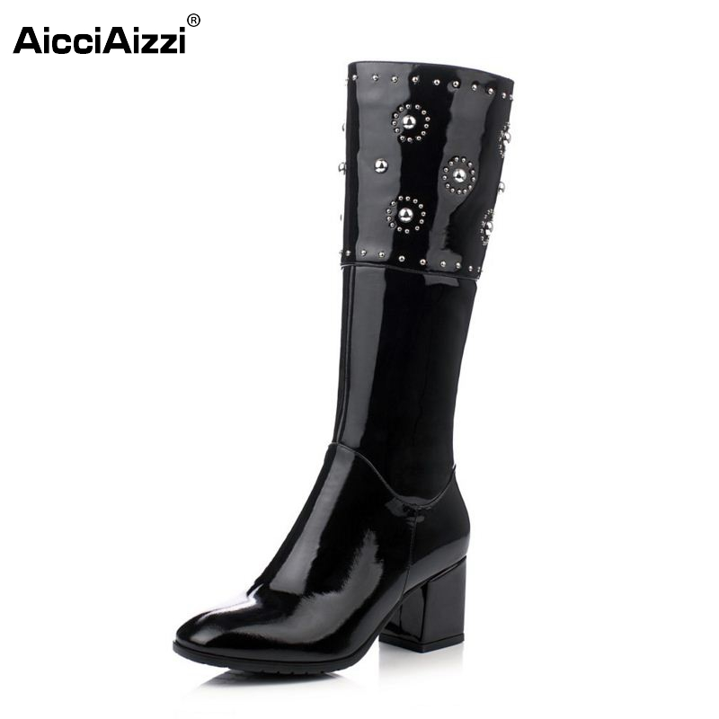 Brand Women Genuine Real Leather Knee Boots Winter Boot Sexy Square Heel Round Toe Zipper Fashion Women Boots Shoes Size 33-40 double barrel toddler boys s andy cowboy boot square toe