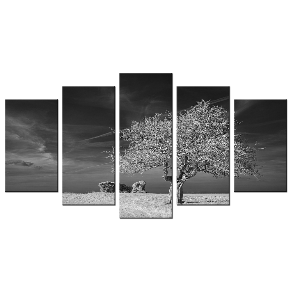 Modern painting black and white winter large tree canvas for Black and white mural prints