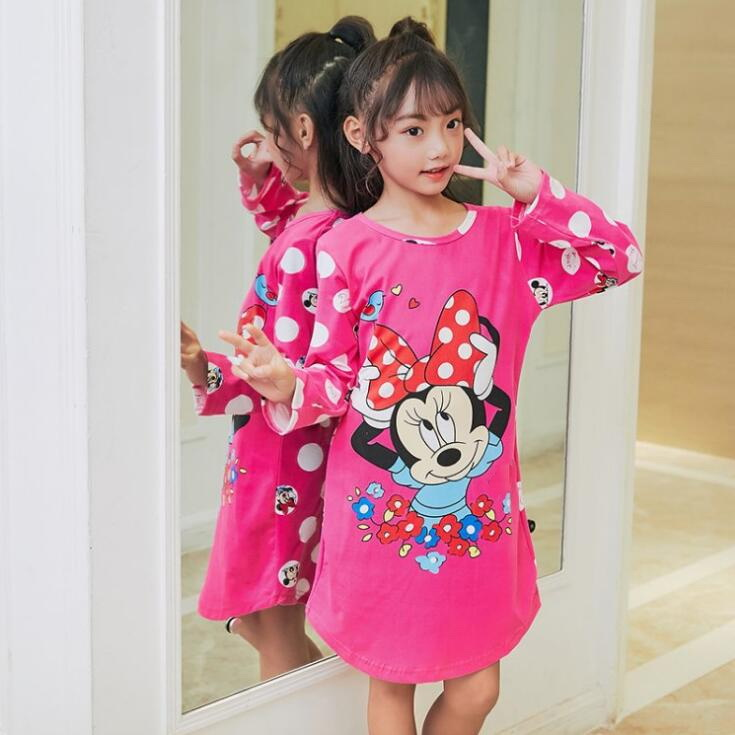 fe74951070c8 2019 Children Girls Autumn Nightgowns Long Sleeve lovely Nightdress Spring  Cartoon Sleepwear Kids Girl Pajamas Home Clothes