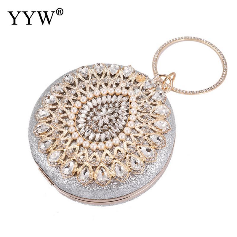 YYW Ladies Sparkly Rhinestone Round Evening Clutch Bag Elegant Handbags Wedding Bridal Party Purse Crystal Clutch Purse Gold