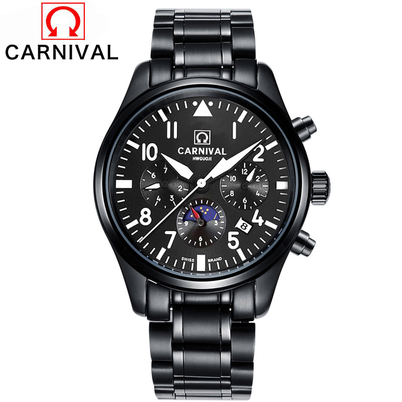 Switzerland Carnival Automatic mechanical Watches Men Luxury Brand Waterproof Stainless Steel Watch Multifunction Pilot Clock men luxury automatic mechanical watch fashion calendar waterproof watches men top brand stainless steel wristwatches clock gift