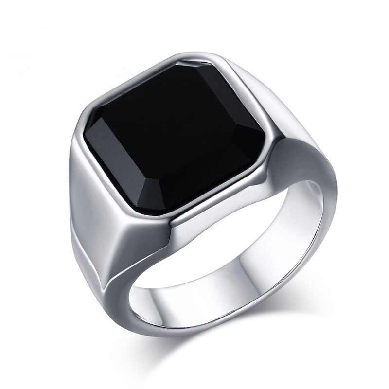 Simple Black Carnelian สแควร์หิน Mens Signet แหวน Silver Tone ยอดนิยม Biker Finger Bands Alliance Bague Homme ขายส่ง