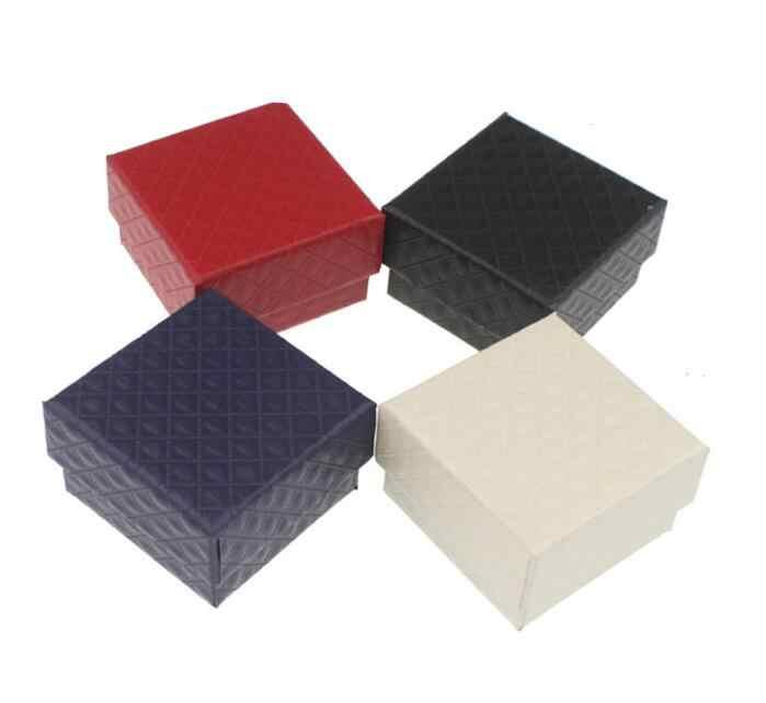 Caja organizadora cuadrada de joyería anillo de compromiso para pulsera collar pendiente caja de regalo o muestra de soporte blanco y negro al por mayor