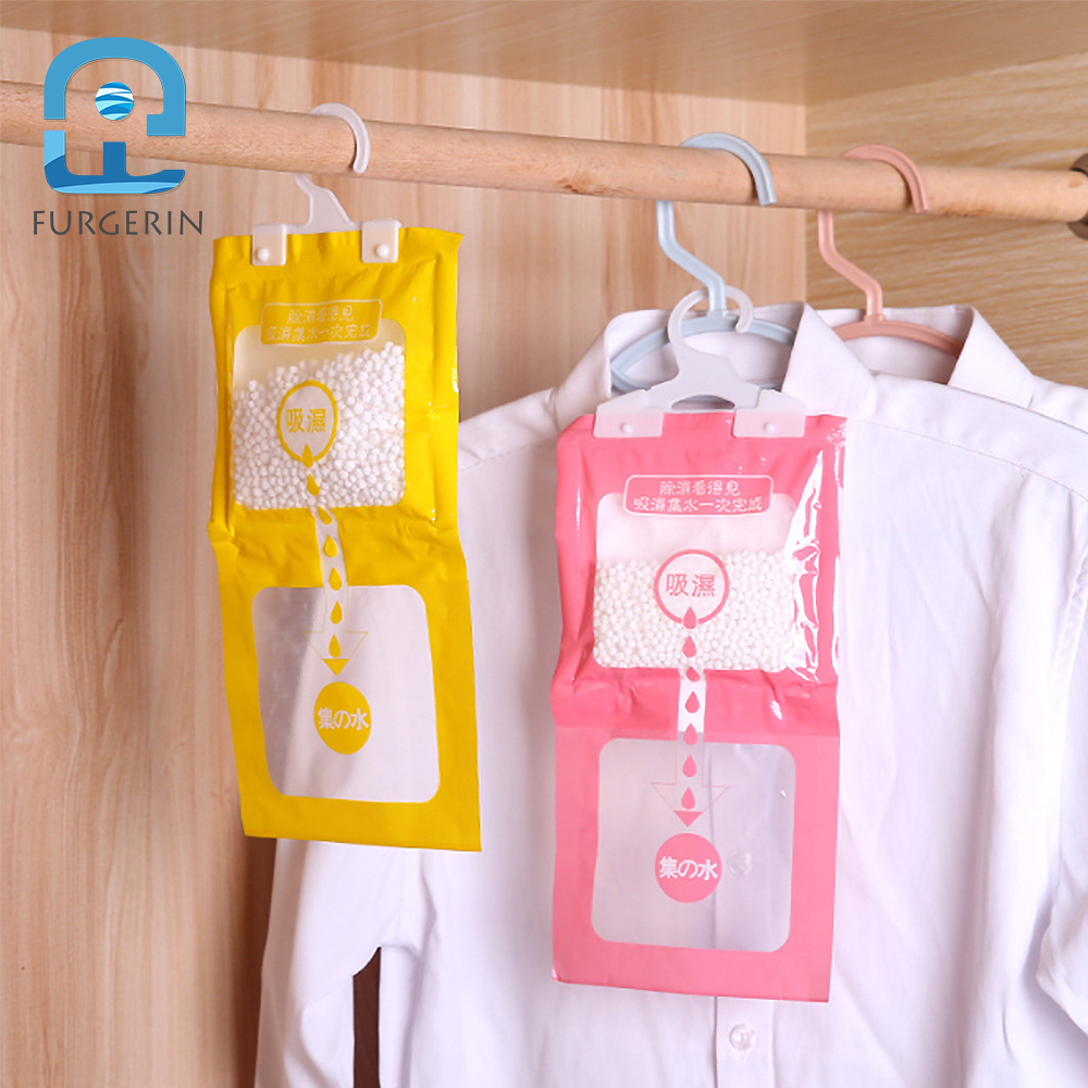 FURGERIN Moisture Absorber Hanging Desiccant Bag Humidity Absorber Dehumidifier Bags Wardrobe Armoire Tools Clothes Dryer
