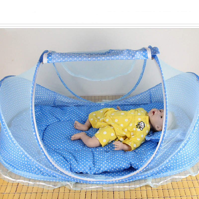 Baby Bedding Crib Netting Folding Baby Mosquito Nets Bed Mattress Pillow 4 Pieces Suit For 0-3 Years Old Children