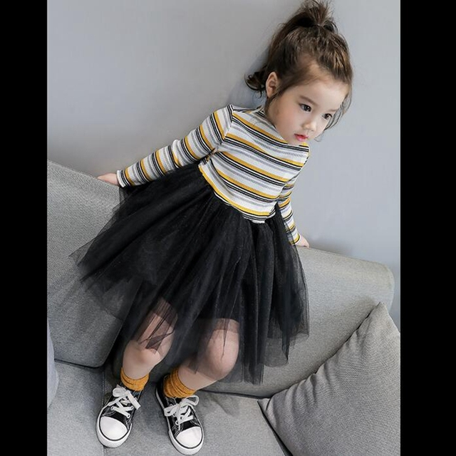 dd3c3ac39c2a Girls Patechwork Striped Pleated dress Long sleeved Mesh Children ...