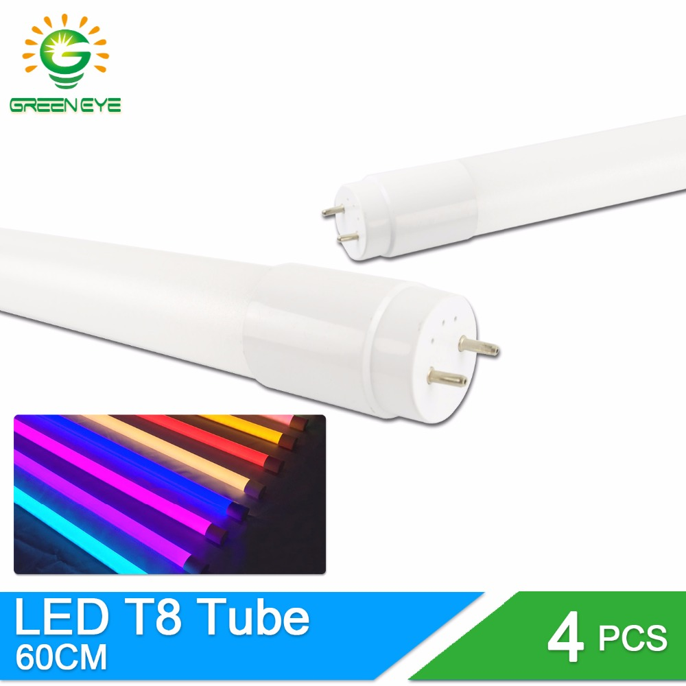 GreenEye 4pcs/lot LED Tube T8 10w 60cm SMD2835 220v Warm Cold White Red Blue Green Pink  2Feet  Milky Cover Light Tube Lamp