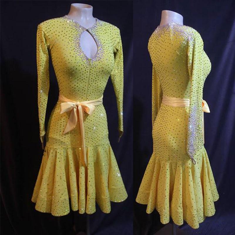 Latin dance competition dress Dress yellow longsleeve Rhinestone latin ballroom dance dress Rumba Foxtrot dance dresses